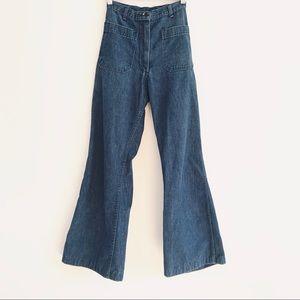 Vintage Navy Wide Leg Sailor Dungaree Jeans